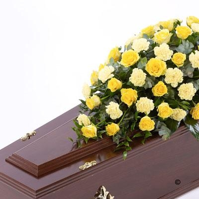 Rose and Carnation Casket Spray   Yellow *